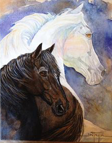 Arthur's beloved rescue horse Duke, a victim of tripping, passed away over year ago. That evening, Arthur said Duke had joined the great white horse in the sky. For Christmas, I asked local artist and friend Jan Taylor to create a memory.